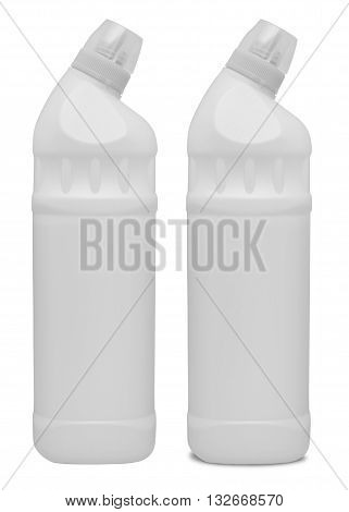 White plastic container for cleansers. Isolated on the white background. With shadow and without.