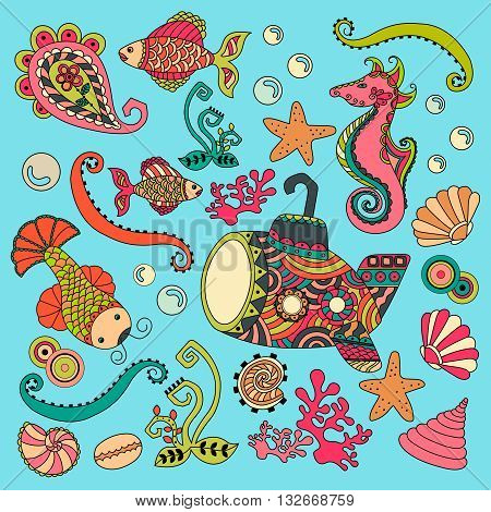 Hand Drown illustration of seafloor underwater world with submarin corals and fish. Antistress ornament. Boho style.