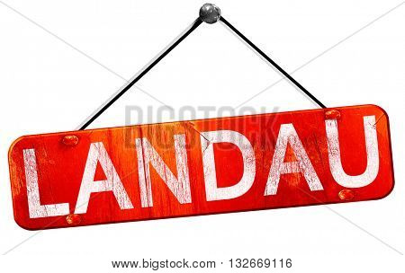 Landau, 3D rendering, a red hanging sign