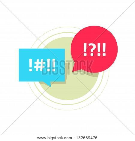 Red and blue bubble speech with abstract censored text, concept of business arguing, conflict dialog, abstract arguing couple, chatting, talk, screaming, shout vector illustration design isolated