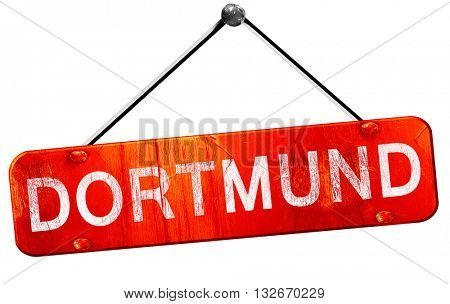 Dortmund, 3D rendering, a red hanging sign