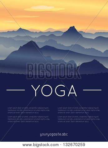 Vector yoga illustration. Template of poster for International Yoga Day. Placard for 21 June Yoga day. Yoga poster with mountain landscape. Backdrop with flat design. Summer sunset over the hills.