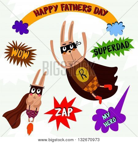 Happy Fathers Day- Lovely Concept Card With Cute Rabbits In Bright Colors-stock Vector