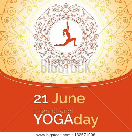 Vector yoga illustration. Template of poster for International Yoga Day. Flyer for 21 June Yoga day. Girl does yoga exercises on ethnic pattern backdrop. Linear design. Trendy yoga poster banner.