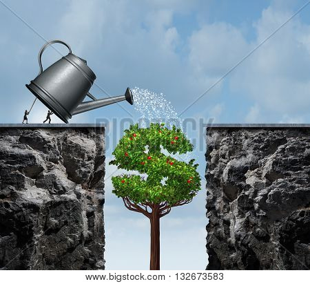 Planning for financial success business concept as a group of businesspeople using a watering can to feed a growing moneey tree that will close the gap and create a success bridge with 3D illustration elements.