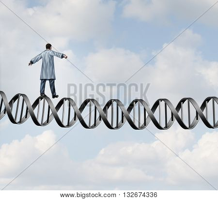 Genetic research doctor challenge as a biologist scientistist walking on a DNA helix strand as a medical biotechnology symbol with 3D illustration elements.