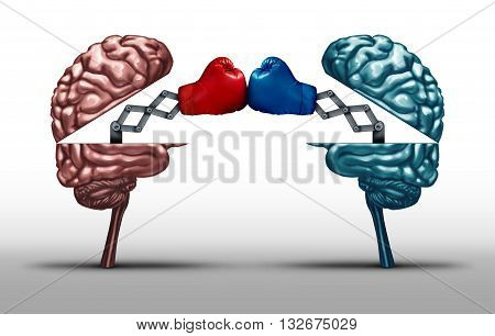 Battle of the brains and war of wit concept as two opposing open human brain symbols fighting as a debate or dispute metaphor and an icon for creative competition in a 3D illustration style.