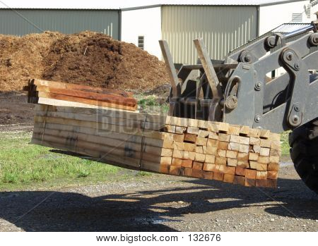 Stack Of Oak Lumber On A Loader