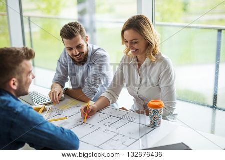 Team of architects planning a successful building project.