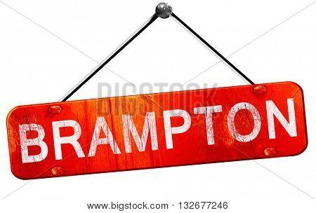 Brampton, 3D rendering, a red hanging sign