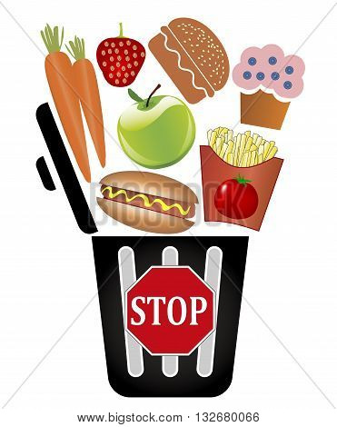 Stop throwing food away. Concept sign not to waste foodstuff poster
