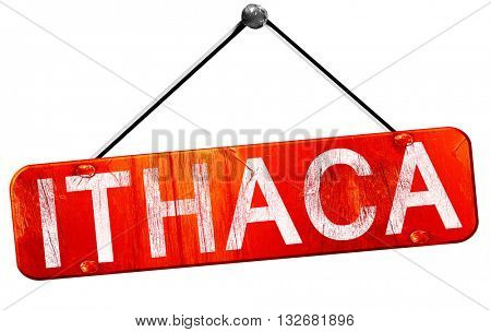 ithaca, 3D rendering, a red hanging sign