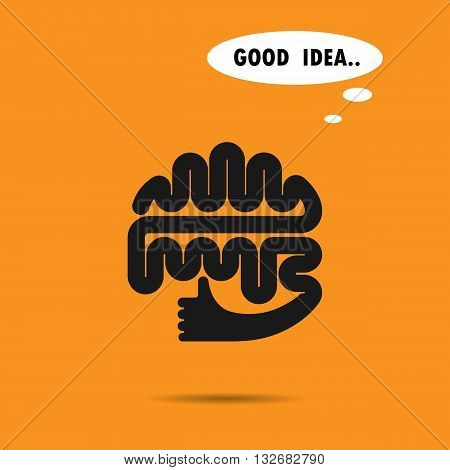 Brain logo silhouette design vector template.The best idea logo.Good idea logo.Brain and hand logo.Think idea concept.Education and business logotype concept.Vector logo design template