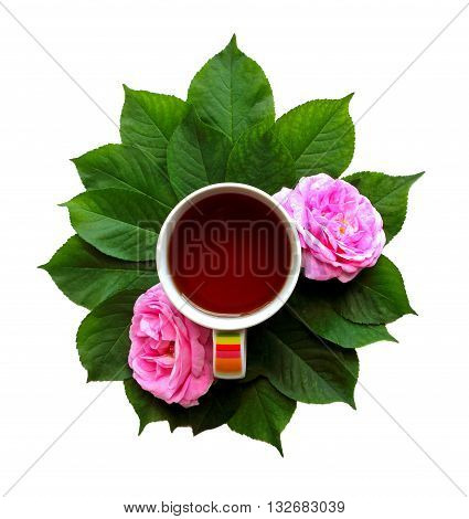 cup of tea with leaves and rose flowers. creative flat lay composition. isolated on white backgroung