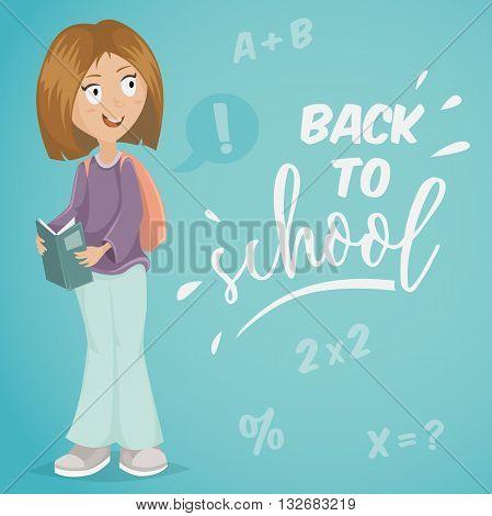Back to school. Schoolgirl with book. Funny cartoon character. Vector illustration