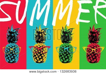 Summer Pineapple Color Design With Hipster Glasses