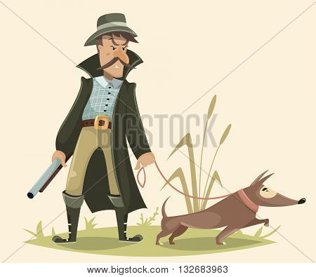 Hunter with gun and dog. Funny cartoon character. Vector illustration in retro style