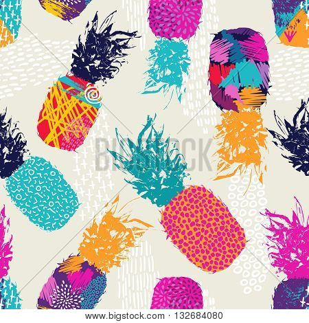 Color Retro Pineapple Seamless Pattern For Summer