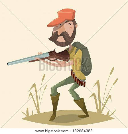 Hunter with gun and backpack. Funny cartoon character. Vector illustration in retro style