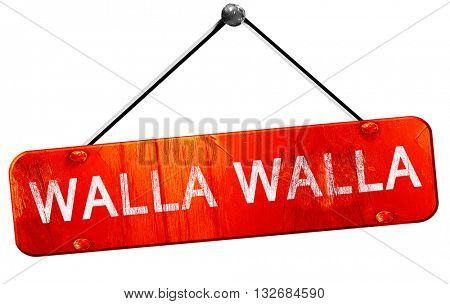 walla walla, 3D rendering, a red hanging sign