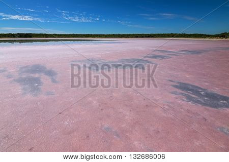 View of salt lake at Coorong National Park. The pink coloration caused by algae called Dunaliella salina in South Australia