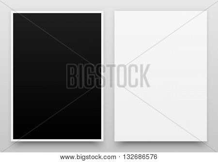 A2 white and black posters realistic template, mock-up with margins, realistic shadow and light background for design concepts, presentations, web, identity, prints. Vector illustration.