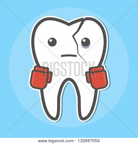 Tooth wear boxing gloves with a crack and a hematoma. Cracked tooth concept. Dental vector illustration
