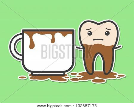 Tooth and cup of coffee. Coffee makes your teeth yellow. Funny vector illustration
