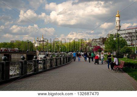 KHARKIV UKRAINE - 1 MAY 2015: Kharkiv queay view on Assumption cathedral and on Pokrovsky Monastery historical center of Kharkiv.