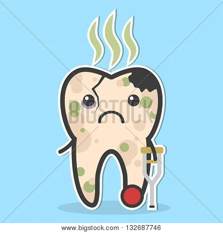 Unhealthy tooth. Cracked tooth with caries pulpit decay and bad smell. Ill tooth concept