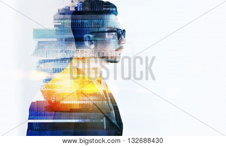 Side view of stylish businessman in glasses and Singapore city on white background. Double exposure. Copyspace