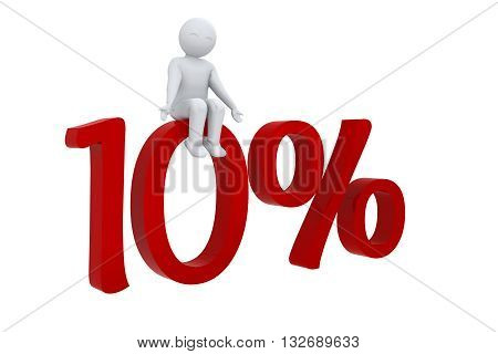 3d human sits on a red 10%