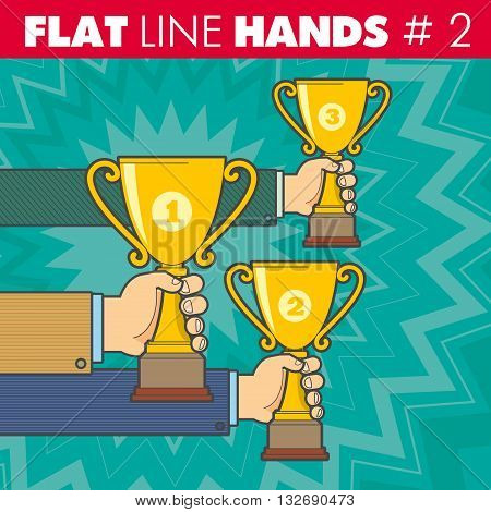 Vector hand style flat line design. Hand of a businessman holding a Cup, competition, contest, victory, win, award, winning, triumph, victorious. For web, print.