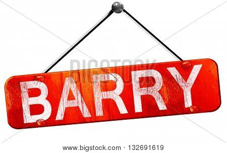 Barry, 3D rendering, a red hanging sign