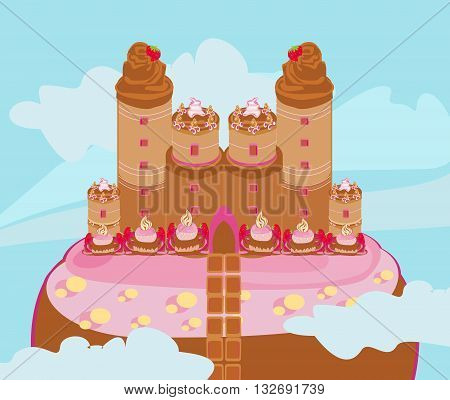 abstract castle with candy in the sky , vector illustration