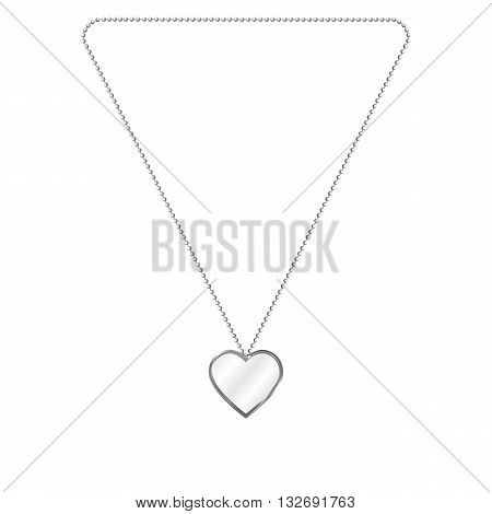 Vector illustration of silver jewelery in the form of heart on a chain. Silver pendant. On an isolated white background.