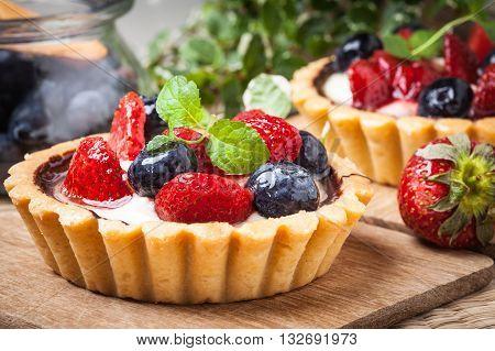 Fresh Homemade Fruit Tart With Strawberries And Blueberries.
