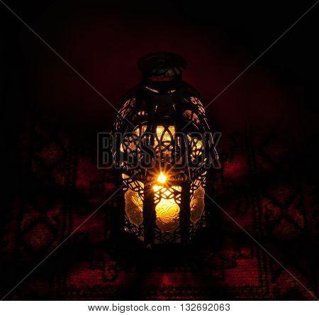 An extreme close up of decorative Ramadan lamp. Abstract image. Ramadan festive background.