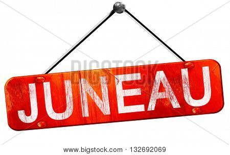 juneau, 3D rendering, a red hanging sign