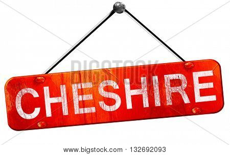 Cheshire, 3D rendering, a red hanging sign