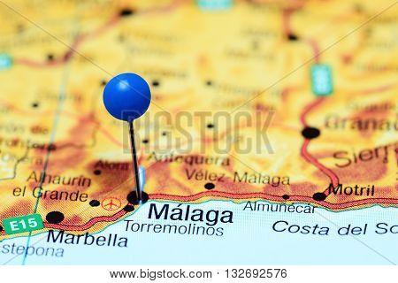 Malanga pinned on a map of Spain