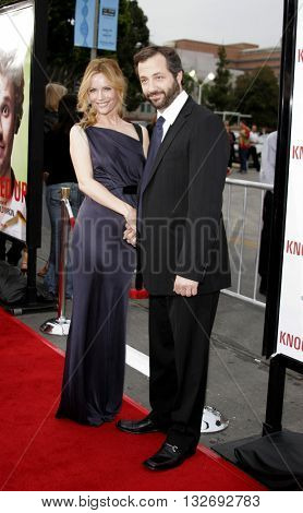 Leslie Mann and Judd Apatow at the Los Angeles premiere of 'Knocked Up' held at the Mann Village Theatre in Westwood, USA on May 21, 2007.