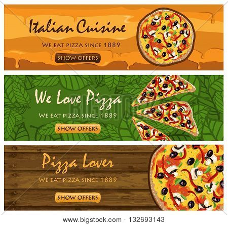 There banners set of PIZZA restaurant in vector format