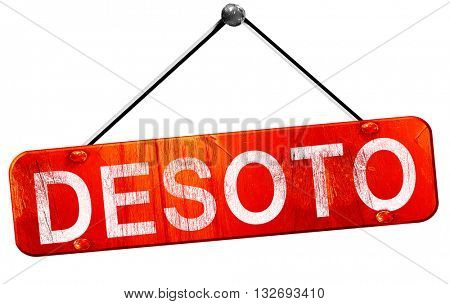desoto, 3D rendering, a red hanging sign