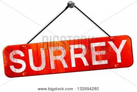 Surrey, 3D rendering, a red hanging sign