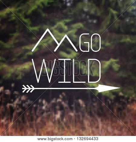 Typography quote - Go wild - with mountain and arrow on the forest blurred background. Website banner
