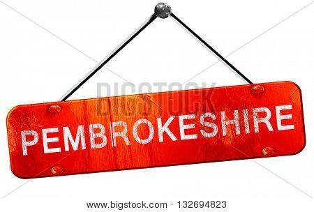 Pembrokeshire, 3D rendering, a red hanging sign