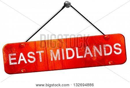 East midlands, 3D rendering, a red hanging sign