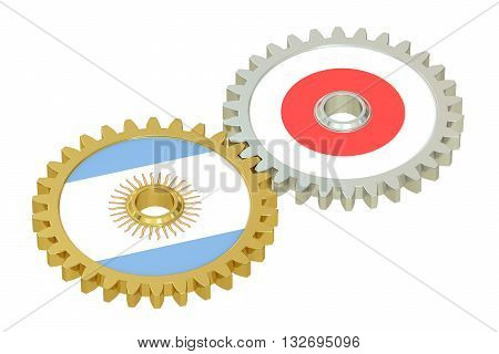 Argentina and Japan relations concept flags on a gears. 3D rendering isolated on white background