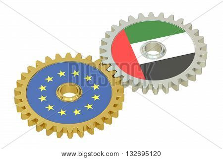 EU and UAE relations concept flags on a gears. 3D rendering isolated on white background